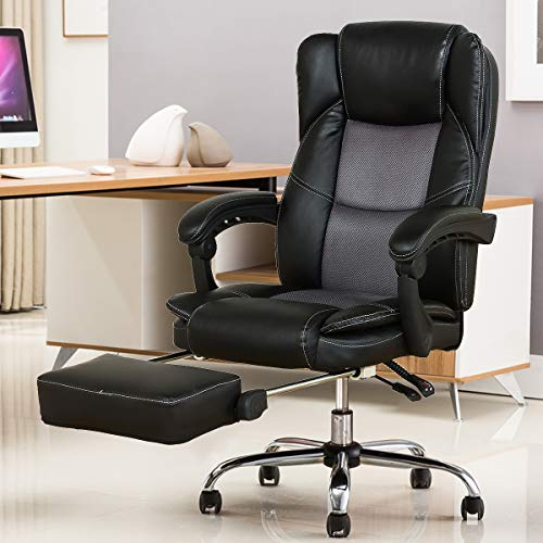 YAMASORO Reclining Office Chair - High Back Executive Chair with Adjustable Angle Recline Locking System and Footrest, Comfort and Ergonomic Design for Lumbar Support,Black chair footrest gaming