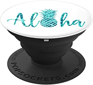 Aloha Pineapple Cute Mint Teal Blue Watercolor Ocean Water - PopSockets Grip and Stand for Phones and Tablets