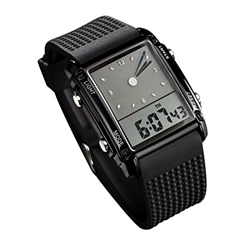 Carlien 0814 Black Pointer Led Light Alarm Digital Analog Silicon Tape Sports Wrist Watch