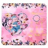 DaMohony Manta Hito Mensual Bebés Estampado Floral Manta Fotografía Niños Pequeños Swaddle Wrap Rosado Corazón