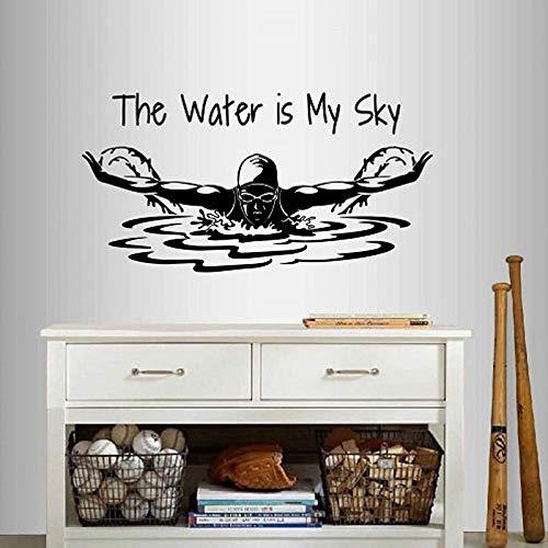 SLQUIET DIY Wandaufkleber Vinyl Aufkleber Das Wasser ist Mein Himmel Satz Zitat Schwimmen Mädchen Frau Schwimmer Schmetterling Sport Abnehmbare Wandbild Design Dunkelgrau 111x57 cm