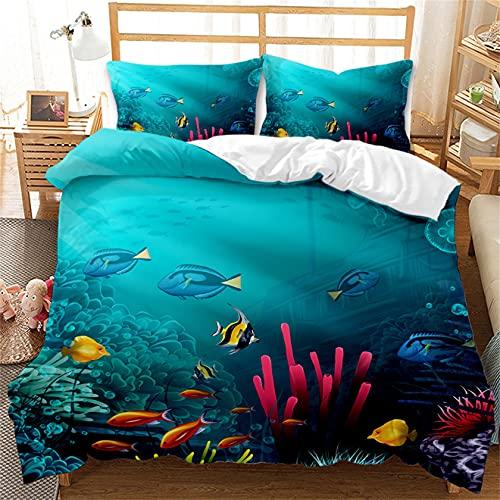 YMXNBMJ - Juego de funda de edredón con diseño de dibujos animados 3D con funda de almohada, diseño Sea Life, reversible, 100% poliéster, para niños y niñas (220 x 260 cm)