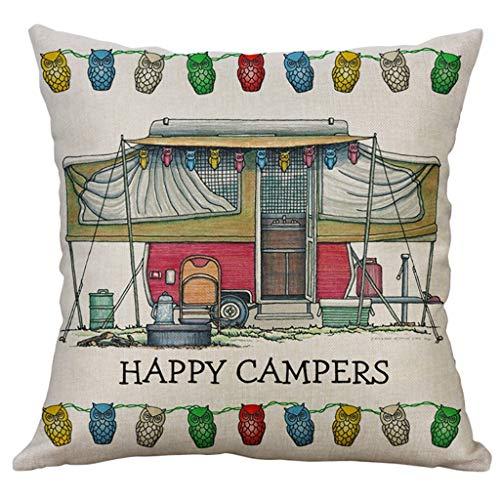 Rusaly Funda Cojin 40x40 Algodón Lino, Decoración del Hogar, Tema de Happy Campers, Almohada Caso Decorativo Cojines para Sofá Silla (A)