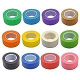 12 unidades de cinta adhesiva de 1 pulgada cinta de etiquetado de arte gráfico cinta de línea de tablero rollo para artes manualidades DIY, 12 colores