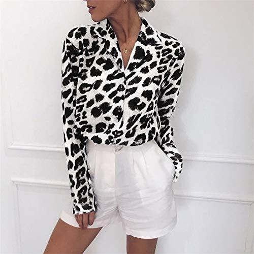 gLoaSublim blusas de gasa para mujer, blusa de gasa de manga larga con estampado de leopardo para mujer,…