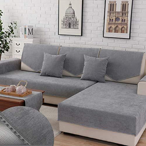 QSCV Impermeable Funda Sofá Forma L La Funda para Sofa,Anti-resbalón Cubierta Seccional del Couch,Chaise Longue Protector De Muebles para Perros Mascotas Salon-Gris 1 90x70cm(35x28inch) 1pcs