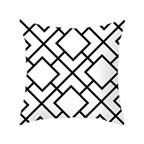 Funda de Cojín Decorativos Funda de Almohada Geometría en blanco y negro Cuadrado Terciopelo Suave Cojines Decor con Cremallera Invisible para Sofá Decor Funda de Cojín M3608 Pillowcase+core,40x40cm