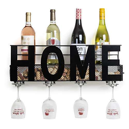 "Besti Premium Black Wall Mount Metal Wine Rack with ""Home"" Word Hanging Horizontal Bottle Holder Storage Decorative Display – Sturdy Construction –Home Décor for Living Room Or Kitchen"