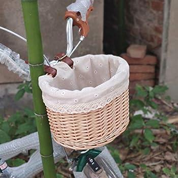 HQPCAHL Panier De Vélo en Rotin Panier De Voiture pour Enfants Panier À Nourriture Panier De Rangement Créativité Pastorale Panier De Vélo Écologique,Marron