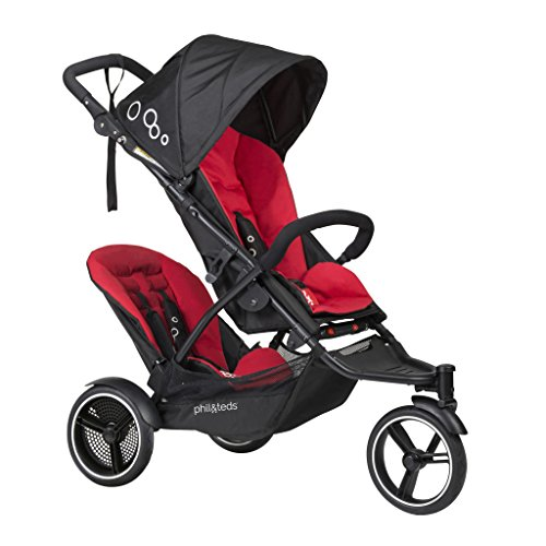 phil&teds Dot Compact Inline City Stroller with Double Kit, Chili – Compact Frame with Full Size Seat – Newborn Ready – Parent Facing Seat Included – Compact, One Hand Fold – Puncture Proof Tires