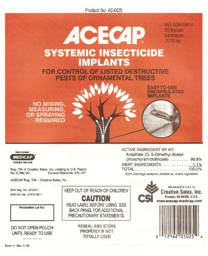 Acecap 25-Pack Systemic Insecticide Tree Implants for Control of Tree Pests, 3/8-Inch
