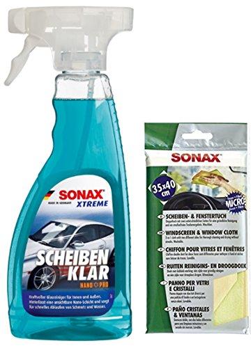 SONAX XTREME Scheibenklar NanoPro Scheibenreiniger, 500 ml + Scheiben & FensterTuch