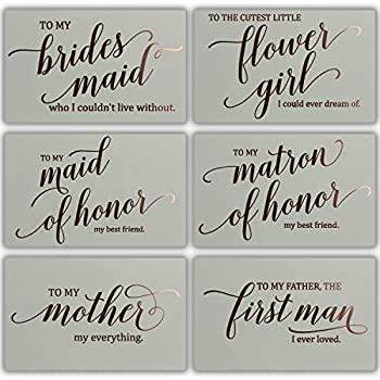 Wedding Party Thank You Cards - Rose Gold Foil Stamped Letterpress - 13 Cards + Envelopes Included for Bridal Party