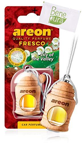 AREON Auto-Lufterfrischer Parfüm Fresco 4 ml - Maiglöckchen-duft - Hängende Flasche Diffusor mit Echtholzdeckel, langlebig