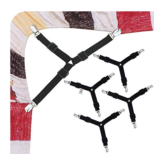 YYST 4-Piece Triangle Model Metal Clip Holder Bed Sheet Grip Cover with Two Tie Stays
