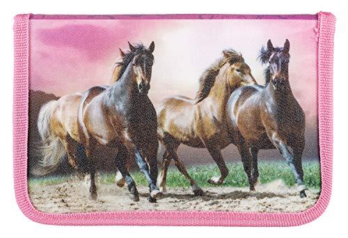 Idena 20051 - Schüleretui gefüllt mit Stabilo Stiften, 24 teilig, Pferde, ca. 19,5 x 13,2 x 3,5 cm, Mehrfarbig