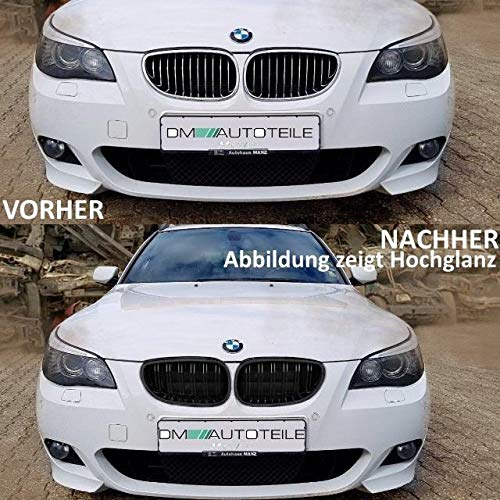 DM Autoteile Juego de dos rejillas de radiador, color negro mate, aptas para serie 5 E60, E61 y LCI