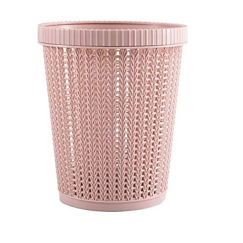 Xcwsmdq Mülleimer Abfallbehälter mit Abfall-Beutel-Speicher Home Creative Wohnzimmer Schlafzimmer Trash Can Debris Lagerung Hohl Trash Can Reinigungsmittel (Color : Pink)