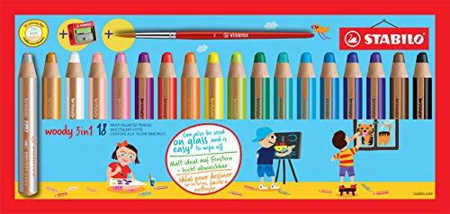 STABILO® Farbstift woody 3 in 1, mit Pinsel + Spitzer, Minen-Ø: 10 mm, Schreibfarbe: 18er sortiert (18 Stück), Sie erhalten 2 Packungen á 18 Stück