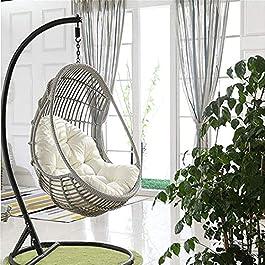Coussin pour fauteuil suspendu – Oeuf en rotin – Chaise de jardin – Coussin de chaise en forme d'œuf pour la maison et…