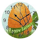 Reloj de pared silencioso,reloj de cocina,Relojes de Cuarzo silencioso Que no Hace tictac,para sala de estar,dormitorios,(Diámetro: 25 cm),Baloncesto Huevo de Pascua Muro Primavera Hierba fresca