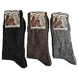 Ges&heitsstrumpf 3 Paar Alpaka Wolle Socken extra fein weich gestrickt super warm, Grau Braun Natur, 39-42