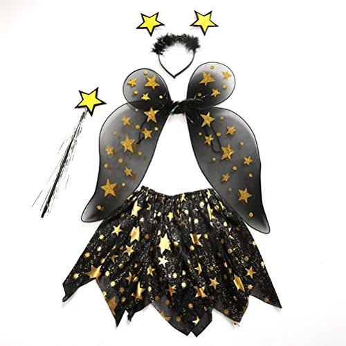BESTOYARD 4 unids Disfraces de Hadas de Estrella con Alas Tutú Diadema y Varita para Niña Vestidos de Fiesta (Estrella)