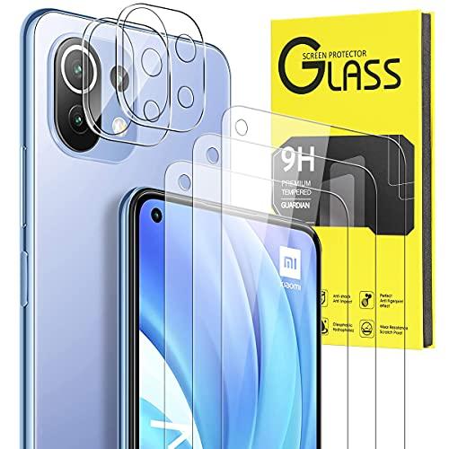 Pnakqil [ 5 Piezas ] 2 Piezas Protector de Lente de cámara para Xiaomi Mi 11 Lite 5G/4G cámara y 3 Piezas Cristal Protector de Pantalla 9H Dureza Sin Burbujas HD Vidrio Templado para Xiaomi 11 Lite