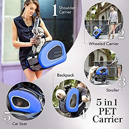 ibiyaya Multifunction Pet Carrier + Backpack + CarSeat + Pet Carrier Stroller + Carriers with Wheels for Dogs and Cats All in ONE (Blue) 3