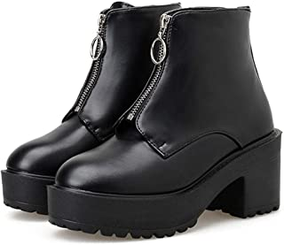 Fashion Zipper Women Block Heel Boots Platform Shoes Short Boots Woman Autumn Leather Black Gothic Style HYBKY