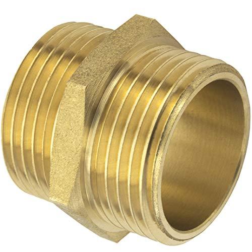 Premium 3/4 Zoll Doppelnippel beidseitiges Außengewinde aus hochwertigem Messing robust und rostfrei Anschlussnippel Rohrstutzen