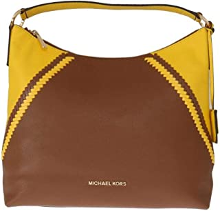 MICHAEL Michael Kors Women's Karson Luggage/Citrus Pebbled Leather Large Shoulder Bag, Style 35T8GKRL7L