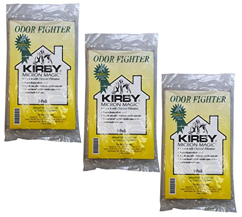 Kirby 6 ODOR FIGHTER Micron Magic with Charcoal Filtration Allergen Vacuum Filter Bags for Households with Cats, Dogs, Pets, Smoke, and other unpleasant odors.