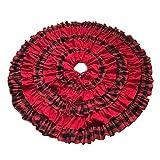 PICTURESQUE Falda de Árbol de Navidad 122cm con Volantes a Cuadros Rojo y Negro Falda de Árbol de Navidad Diseño Simple para Decoración Navideña
