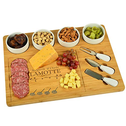 Custom Personalized Engraved Bamboo Cutting Board for Cheese & Charcuterie with 4 Ceramic Bowls, Knife Set & Cheese Markers - by Picnic at Ascot USA