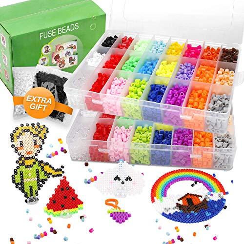 Farielyn-X - Juego de 7800 cuentas de fusibles, 24 colores de 0.197in para niños, incluye 5 papel de planchado, 50 patrones, 2 tableros, pinzas, llavero, anillos, perlas Perler Kit compatible