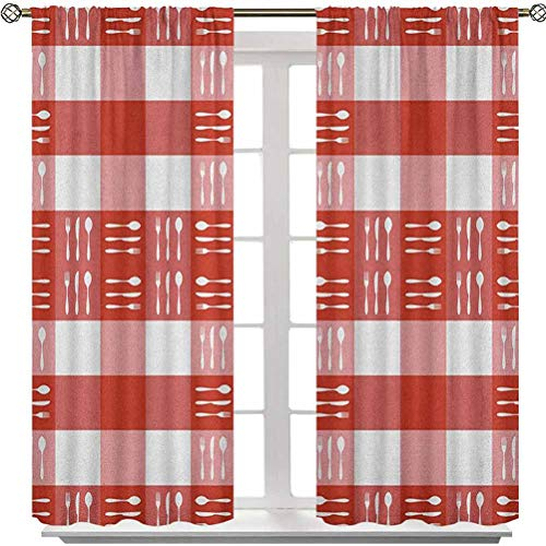 Rod Pocket Curtains, Cutlery Silhouettes on Squares Dining Picnic Tile Spoons Forks Knives, 84 Inches Long Noise Reducing Blackout Curtains for Bedroom(2 Panels), Coral Dark Coral White