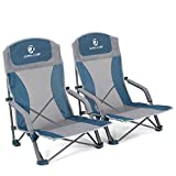 ALPHA CAMP Low Beach Camping Folding Chair, Ultralight Low Mesh Back Backpacking Chair with Carry Bag Compact & Heavy Duty, Outdoor, Camping, BBQ, Beach, Travel, Picnic, Festival,2PC