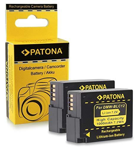 2x Akku / Batterie DMW-BLC12 E für Panasonic Lumix DMC-FZ200 | FZ300 | FZ1000 | DMC-G5 | G6 | G70 | DMC-GH2 | GH6 | DMC-GX8 | Leica V-Lux 4