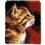 Huanxin Kits De Alfombra De Gancho para Adultos para Adultos Kids DIY Bordado Alfombra con Patrón Impreso Canvas Crochet Artesanía Costura, 20.5'X 14' Gato