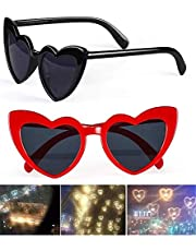 2pcs Heart Shaped Love Effects Glasses,fashion Mardi Gras Eyewear For Raves Music Festivals, For special Effect Light Outdoor Music Party/bar