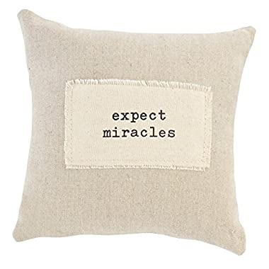 Mud Pie 4165059E Linen Off-White 9  Decorative Pillow - Expect a Miracle