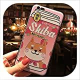 Japanese Cute Shiba Inu Drink Phone Case for iPhone Xs MAX XR Capa Coque Soft TPU Back Cover for iPhone X 8 7 6S 6 Plus Case-in Half,2,for iPhone 6s