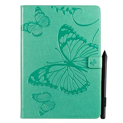 Wangqianli Compatible With IPad Air (3rd Gen) 2019 / IPad Pro 10.5 2017 Butterfly Flower Floral Pattern PU Leather Wallet Stand Tablet Case (Color : Green)