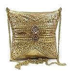 Trend Overseas Embrague de latón dorado, bolsa de metal, embrague étnico, bolsos vintage, funda de almohada estilo bandolera
