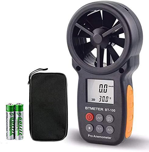 BTMETER Anemometro Digitale Portatile, BT-100 Misuratore di velocità del Vento con Design Installabile,Display LCD Misuratore di Vento con Max/MIN/AVG per la velocità del Vento,Wind Chill,Temperatura