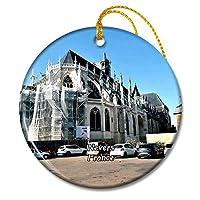 Nevers フランス Cathedrale Saint-Cyr-et-Sainte-Julitteクリスマスオーナメントセラミックシート旅行お土産ギフト