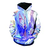CUIACOIR Novelty Unisex 3D Print Hoodie Anime No Game No Life Cosplay Pullover Pockets Hoodie Costume Sweatshirt (Blue, M)