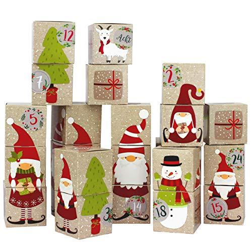 Papierdrachen DIY Adventskalender zum Befüllen - Kisten Set - Motiv Wichtel - 24 Bunte Schachteln aus Karton zum Aufstellen und zum Befüllen - 24 Boxen - Weihnachten 2020