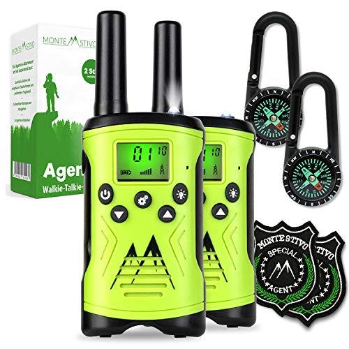 Monte Stivo® Walkie Talkie für Kinder | 8-teiliges Set mit Kompass & Badge | Als Geschenk Outdoor Spielzeug für Junge Mädchen